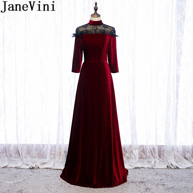 JaneVini Velvet Burgundy Gown Plus Size High Neck Beaded Long Evening Dresses for Women Elegant Dubai Long Sleeve Formal Dress