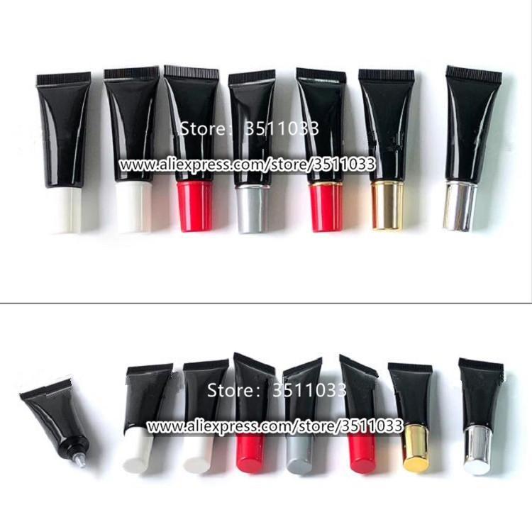 Al por mayor de 10 ml de la muestra Negro vacío luz empaquetado cosmético tubo de plástico suave Pequeño 10g Crema de Ojos Gel Contenedores Squeeze Tube