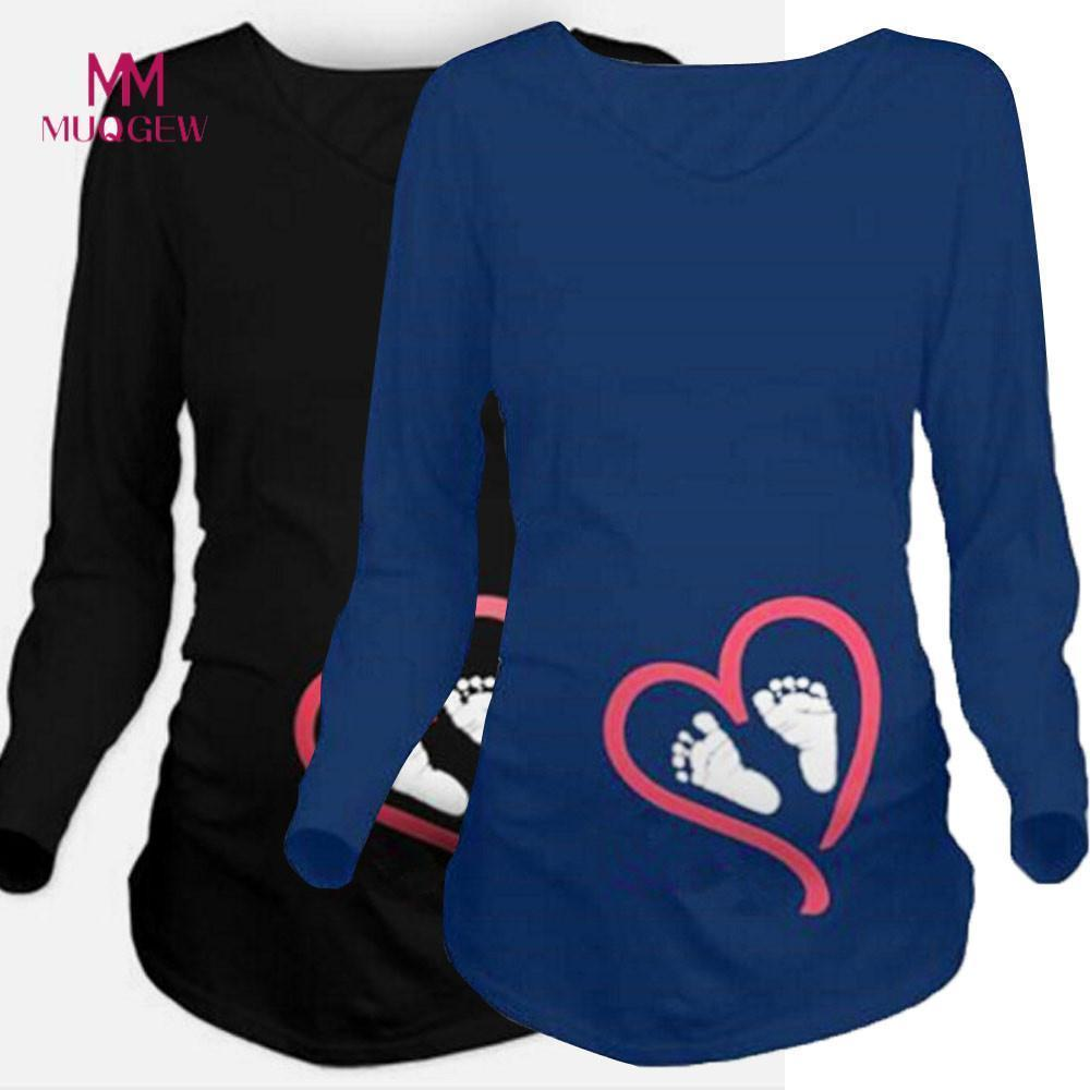 Moms Fashion Pregnancy Maternity Clothes Maternity Tops Womens Long Sleeve Blouse Footprint Print For Maternity T-shirt Winter