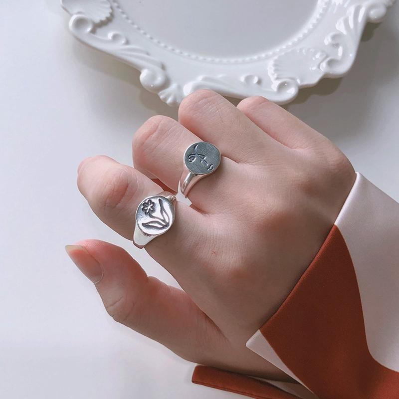 Günstige Silvology Menschliches Gesicht Blumen-Ringe 925 Sterlingsilber-runde Skulptur Korea Kreative Ringe für Frauen-eleganten Festival Schmuck