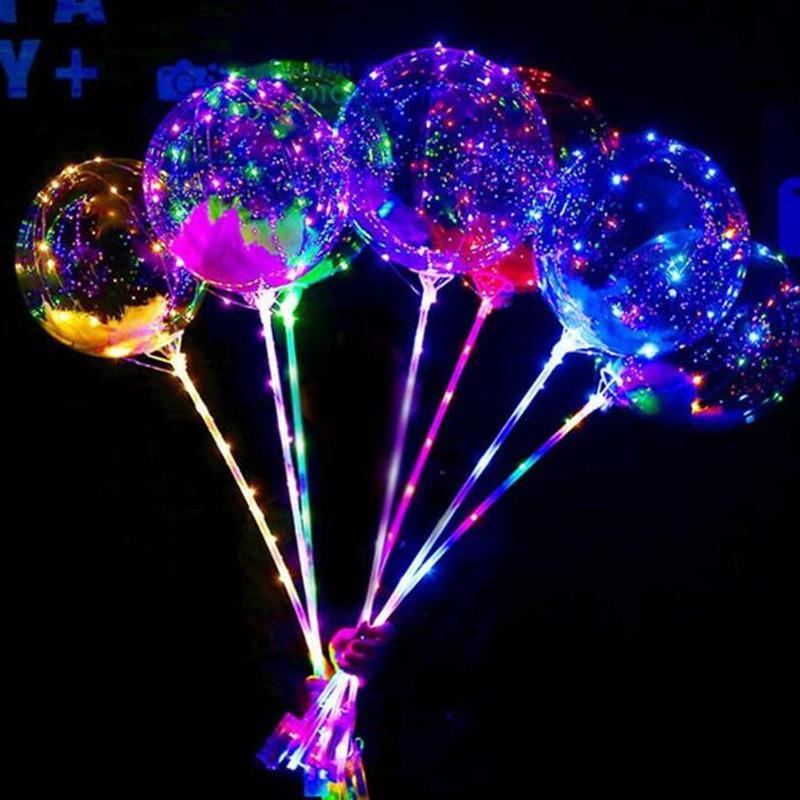 LED Lampeggiante Palloncino Trasparente Luminoso BOBO Palloncini con palline 70cm Palo 3M Palloncino Xmas Decorazioni per matrimoni 2019
