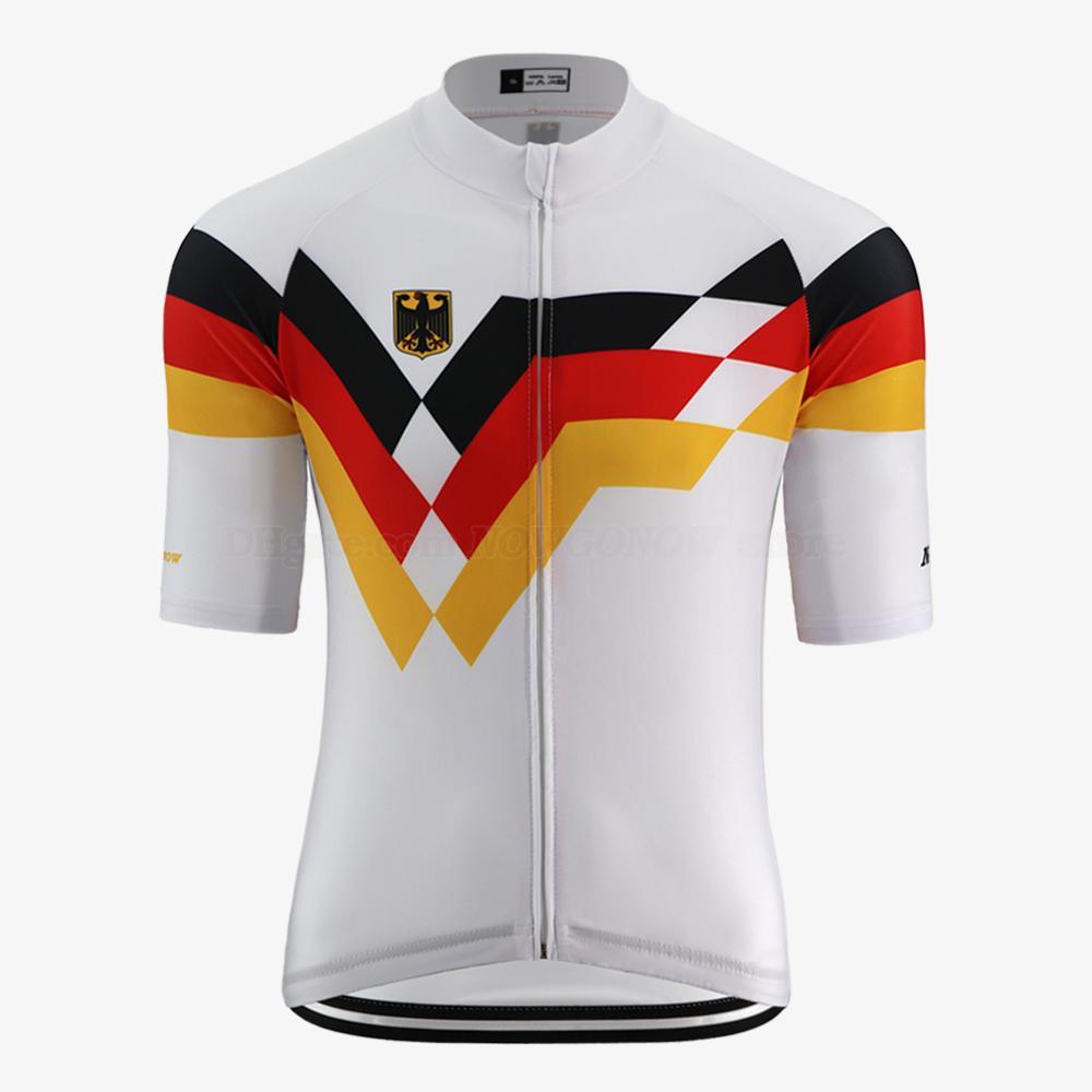 Estate New Germany pro squadra Jersey di riciclaggio degli uomini rosso nero giallo della bicicletta della strada vestiti di montagna bici Jersey con cerniera tasche riflettenti