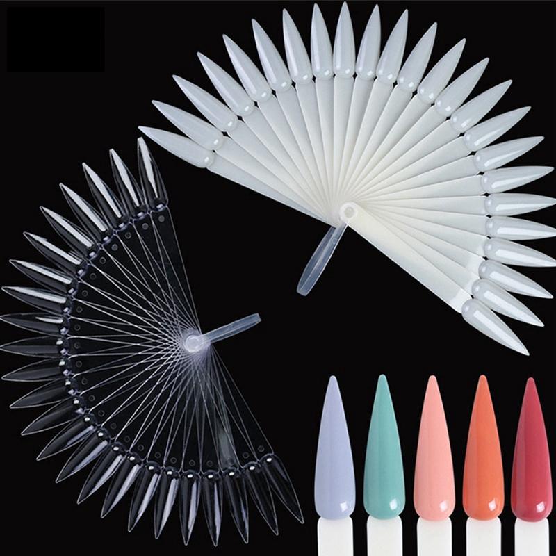 24pcs / set Yanlış Nail Art Display Akrilik Uygulama Fan şeklindeki Nail Art Lehçe Renk Kart Ayrılabilir Pratik DIY Aracı HHA889