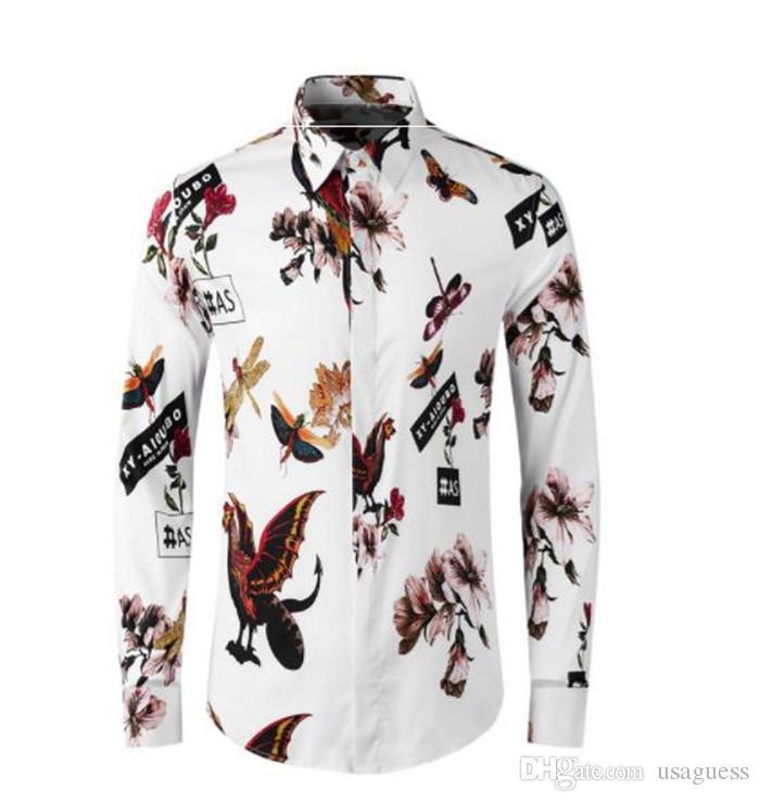 Mens Floral Imprimir Verão Casual camisa lapela Long Neck Sleeve Fashion Style Homme Vestuário Único Breasted Camisa