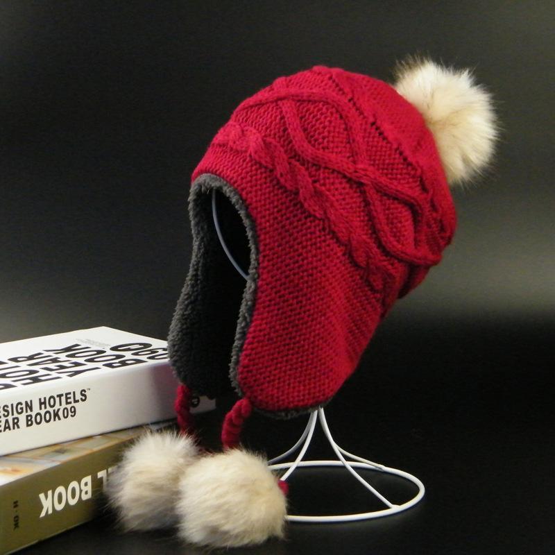 New winter children hat adult parent-child knitting hat lady winter children hair bulb earmuffs outdoor Pom Pom party cap