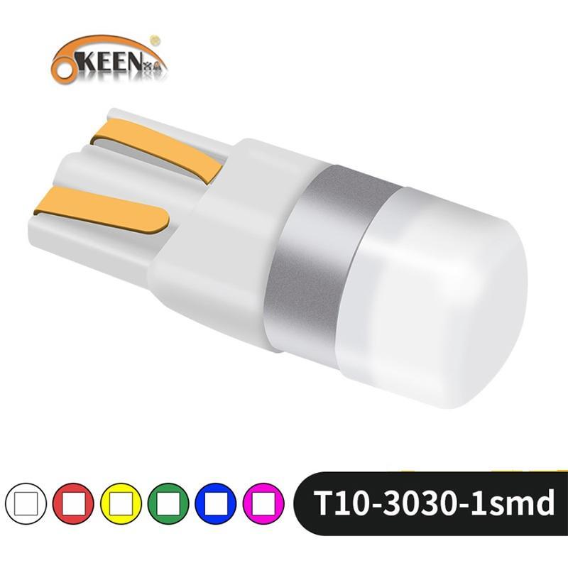 Okeen 2pcs Cerâmica 3D T10 LED LED W5W Lâmpadas 194 168 Canbus Erro Livre Auto Lamp W5W luzes do carro Super Bright Bulb 12V 6000K