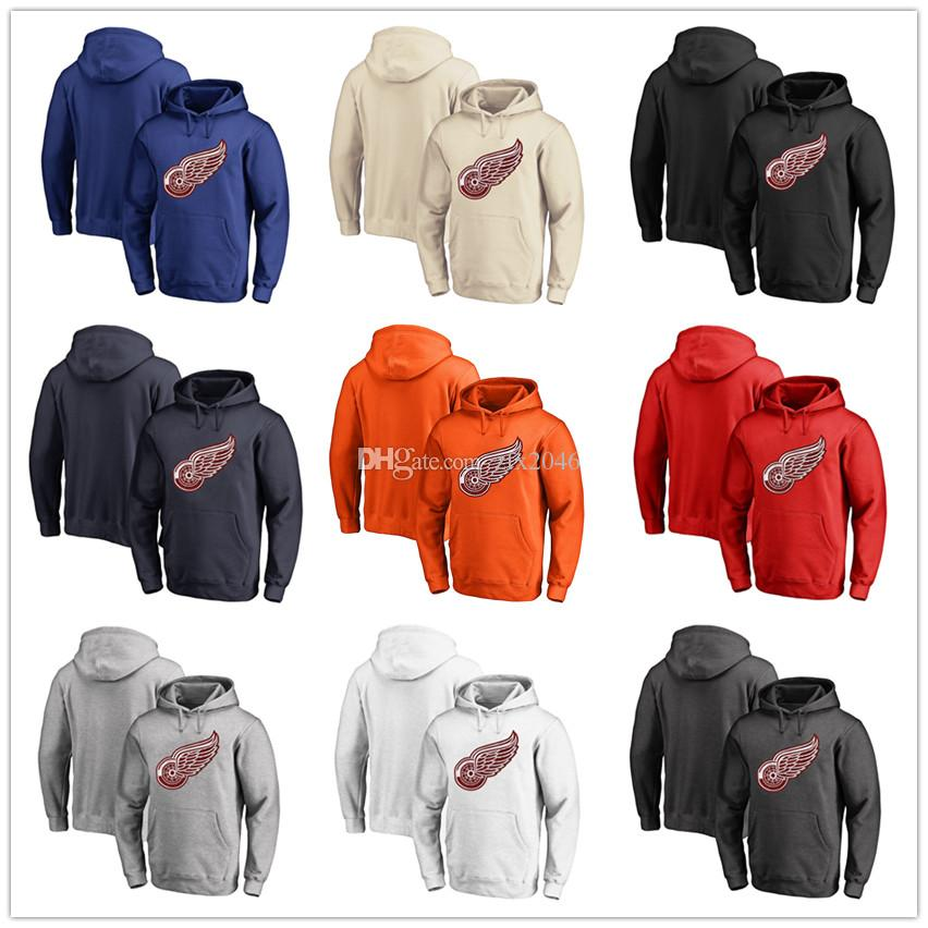 Men's Red Red Wings Fanatics con marchio Black Ash White Red Orange ricamo Primary Logo Pullover Felpe a maniche lunghe Outdoor Wear