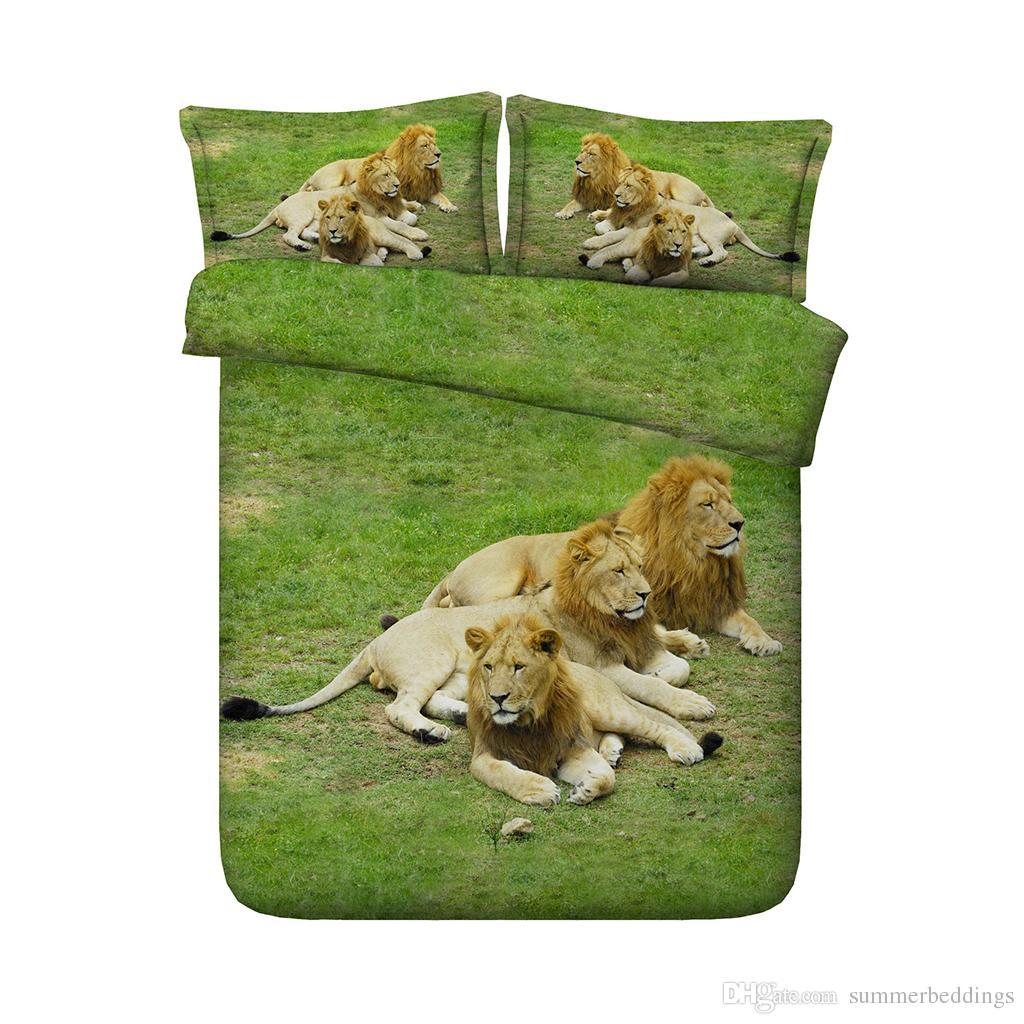 3 Pieces Duvet Cover Set Comforter Quilt Bedding Cover With Zipper Closure Wildlife Tiger Leopard Bed Spread Lion Boys Girls 3D Bedding Sets
