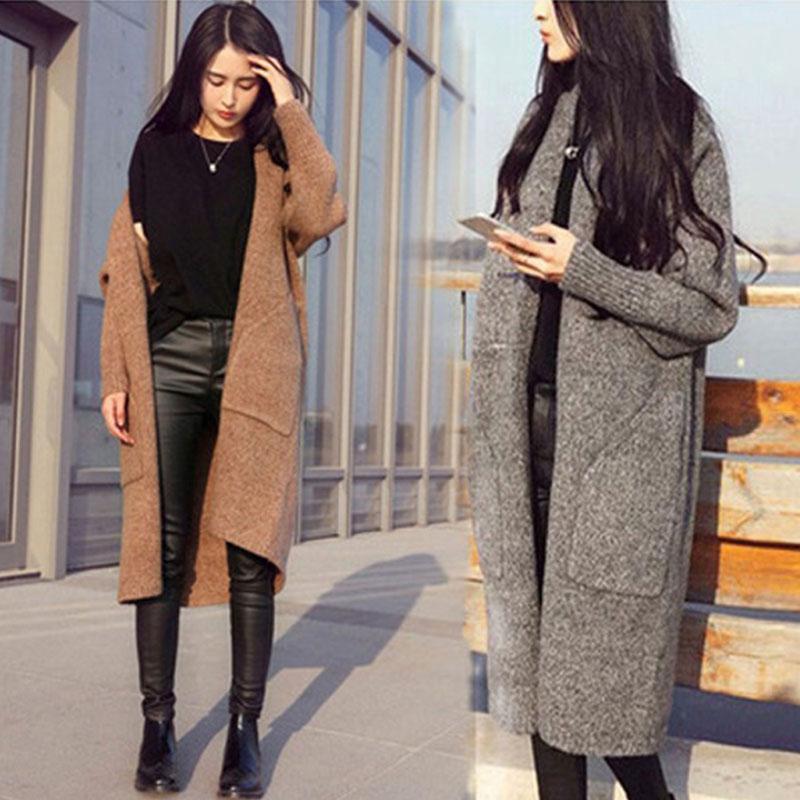 Femmes Knits Trees Spring Automne Sweater Femmes 2021 Version coréenne Longue lâche Cardigan Femme Mode Poilue Plus Taille Camel Camel Féminin