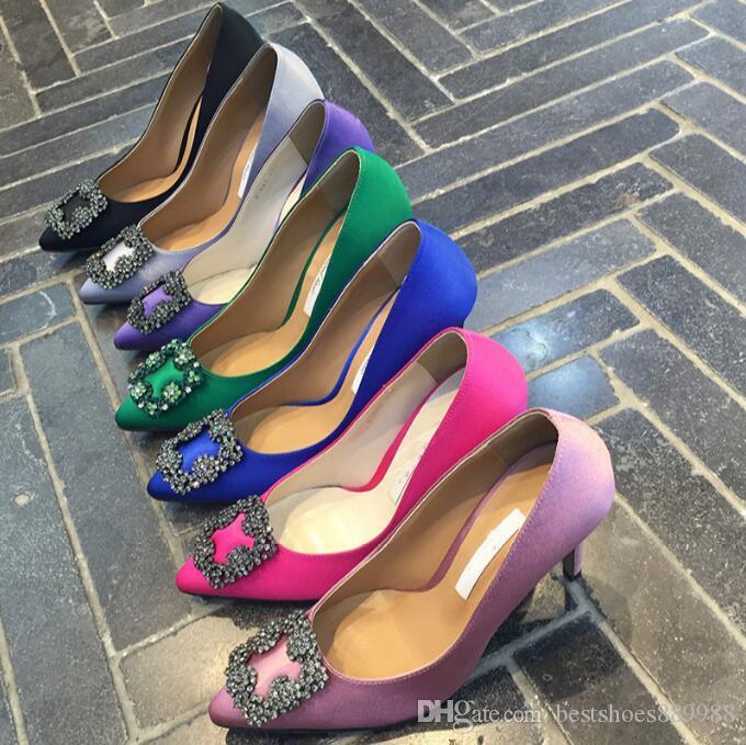 2019 diseñador de zapatos de la boda del partido de alta calidad bombea los zapatos de las señoras de vestir sandalias atractivas de moda dedo del pie acentuado los tacones altos