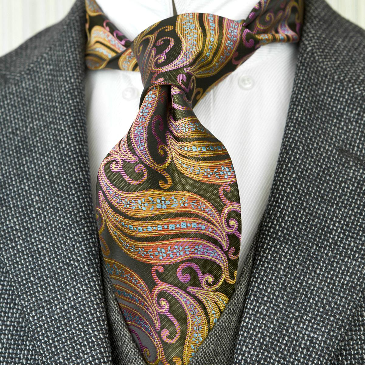 Men/'s Fashion 100/% Silk Tie Multicolor Geometric Woven Jacquard Handmade Necktie