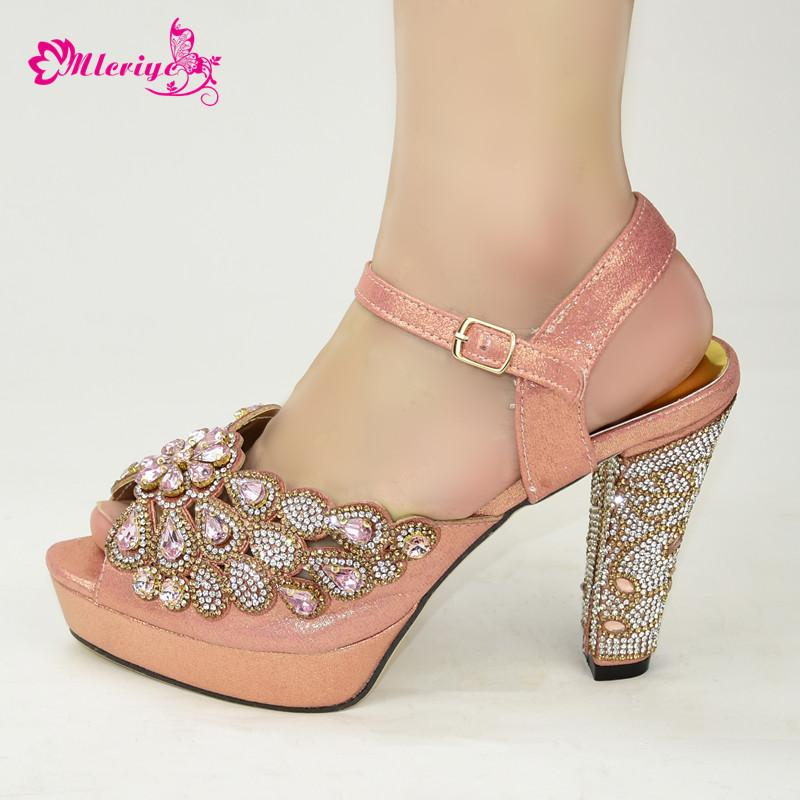 Latest 2020 African Design Nigerian Shoes without Bag Set Pointed Toe Italian Royal Paty Matching Shoes in Peach Color