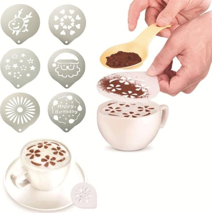 Aço inoxidável Modelo Printing Coffee 45 Styles Coffee Stencils Garland Mold Cafe Espuma spray Template Barista Stencils Decoração Ferramenta