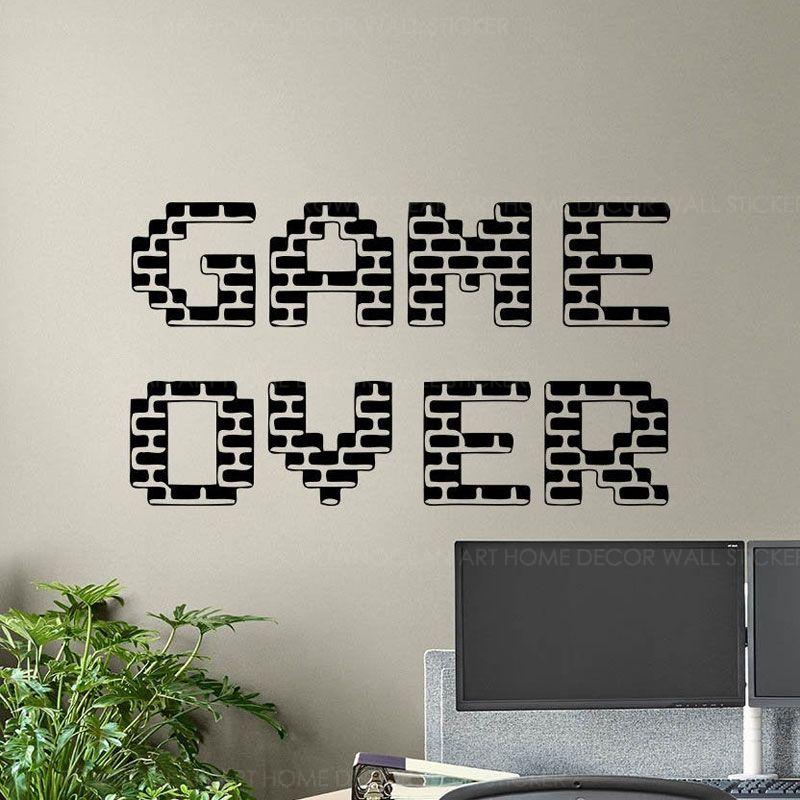 Jogo sobre Decalque Gamer Poster Gaming Entrar Playroom vinil adesivo Home Decor Quarto dos meninos Mural de vídeo Pixel Wallpaper