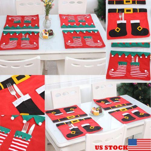 1 x Christmas Santa Halter Dinner Tischdekoration Besteck Silber Bag Taschen