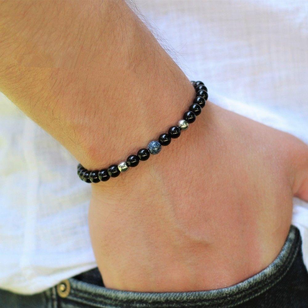 L'arrivée de nouveaux hommes bracelet en mode simple 6mm Pierre Perle Bracelets Classique Bijoux Charme