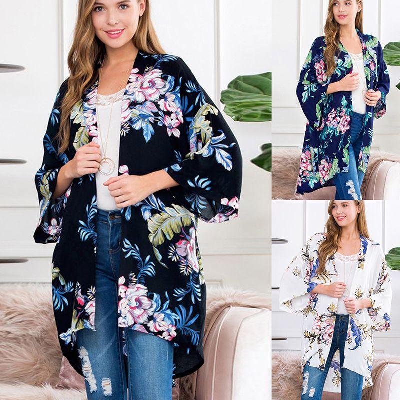 Mulheres T-shirt Cardigan Flores Imprimir Casual Chiffon Cardigan acolhedor