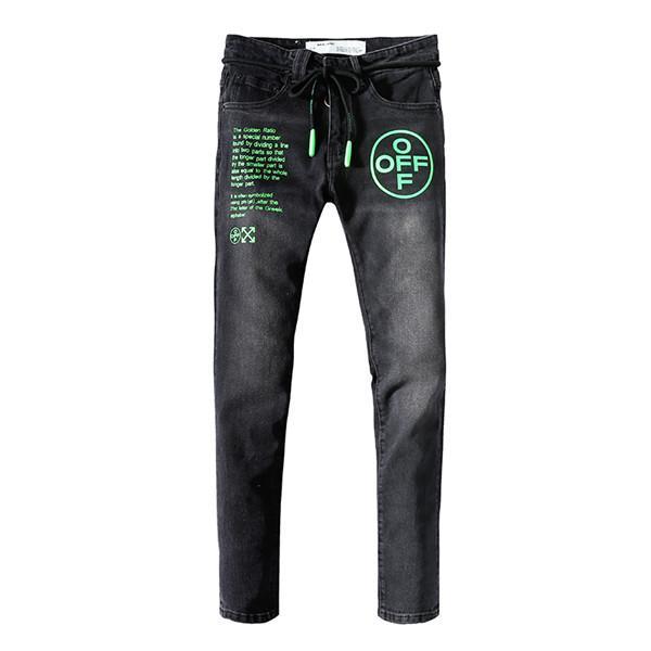 2020 Yeni Geliş Üst Kalite Marka Tasarımcı Erkekler Denim Jeans Nakış Pantolon Moda Delikler Pantolon ABD Boyut 28-40v2