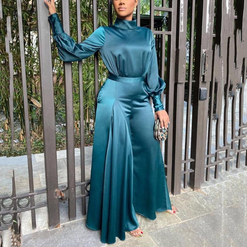 Comprimento Macacões elegante Vintage Mulheres Blue Satin manga comprida completa de cintura alta Plain perna larga Luxo Escritório macacãozinho Macacão de trabalho