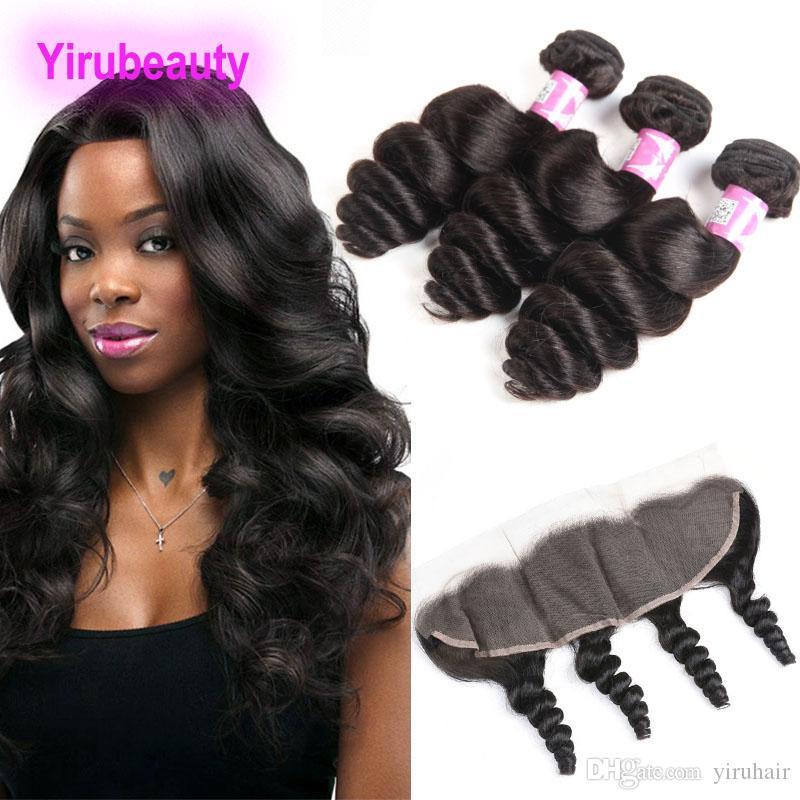 Bundles tinti per capelli umani del 100% del 100% con il pizzo del pizzo del pizzo 13x4 in pizzo Wave di Wave Virgin Human Weaves 3 Bundles con frontale