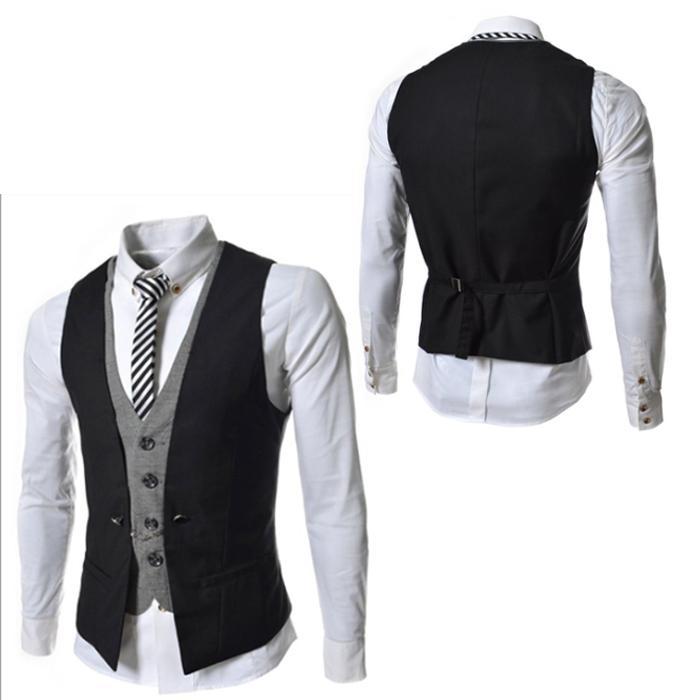 Atacado- Suit Mens Moda Coletes Mens New Arrival 2017 Autumn cabido Lazer Colete Business Casual Homens Gentleman Vest Tops fz0210