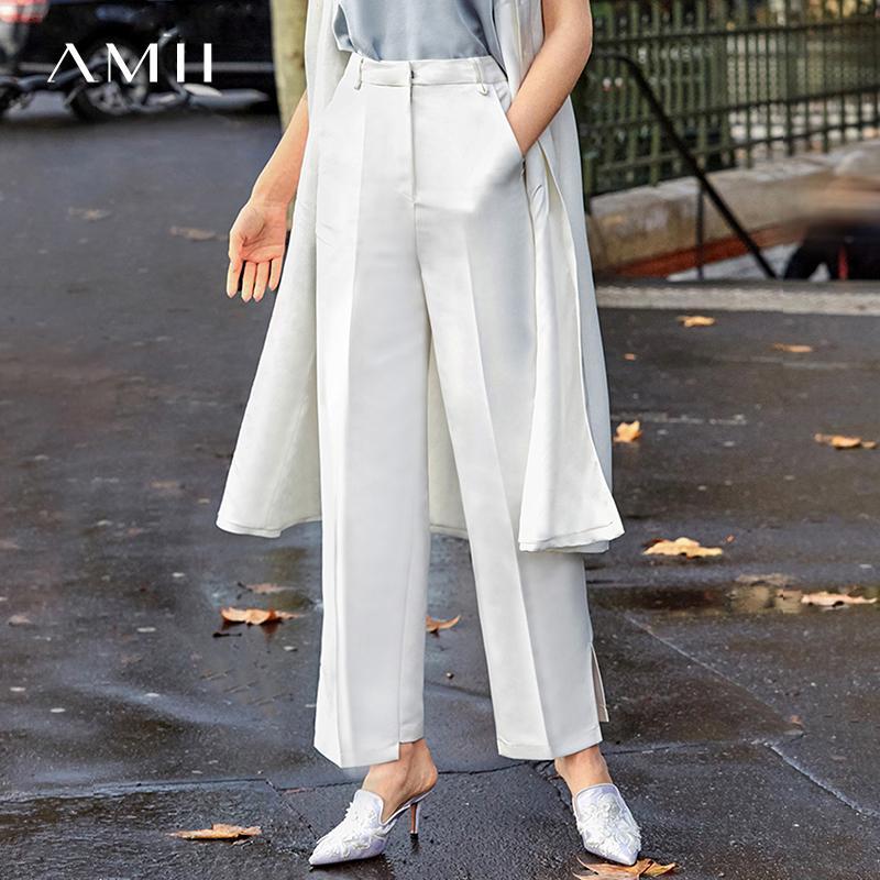 Amii minimalista Dividir calças perna larga Outono Mulheres cintura alta sólidos a granel fêmeas Calças retas 11930003