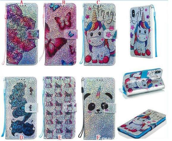 Bling 3D Cartoon Wallet Leather Case For Samsung S20 Ultra A51 A71 A91 A81 A41 A11 A01 M30S A10S A20S Strap Sequins Flower Stand Card Cover