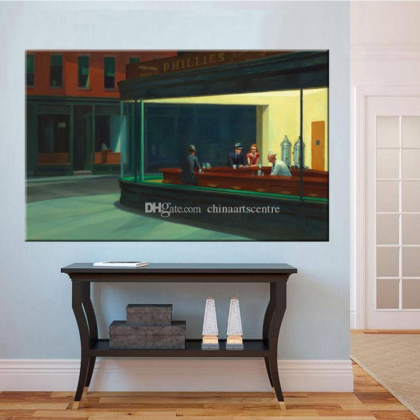 Handpainted & HD Print Nighthawks quiet street classic Art Oil Painting On Canvas Wall Art Home Office Deco High Quality p182 vA.