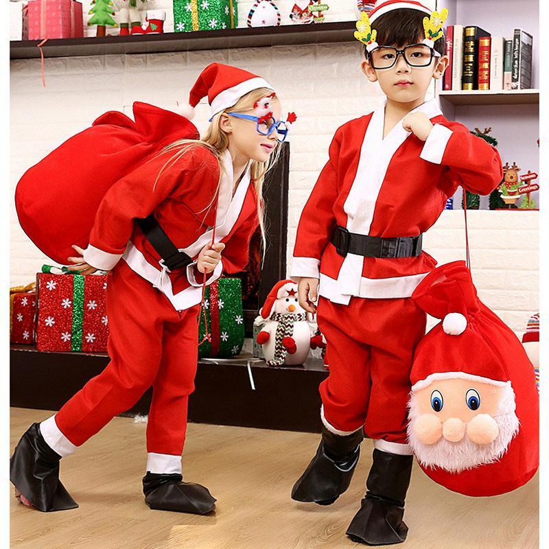 Çoklu Boyut Noel Noel Baba Kostüm Yetişkin Çocuk Sigara Kumaş Dokuma X Mas Giyim Noel Dekorasyon Sakal Kuşak Takımları