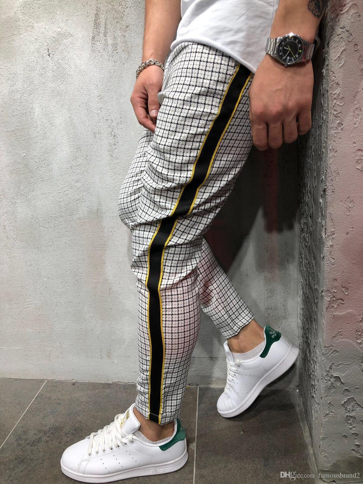 Pantalon Hommes plaids rayé Designer Pantalons pour hommes Vêtements Printemps Automne Pantalones