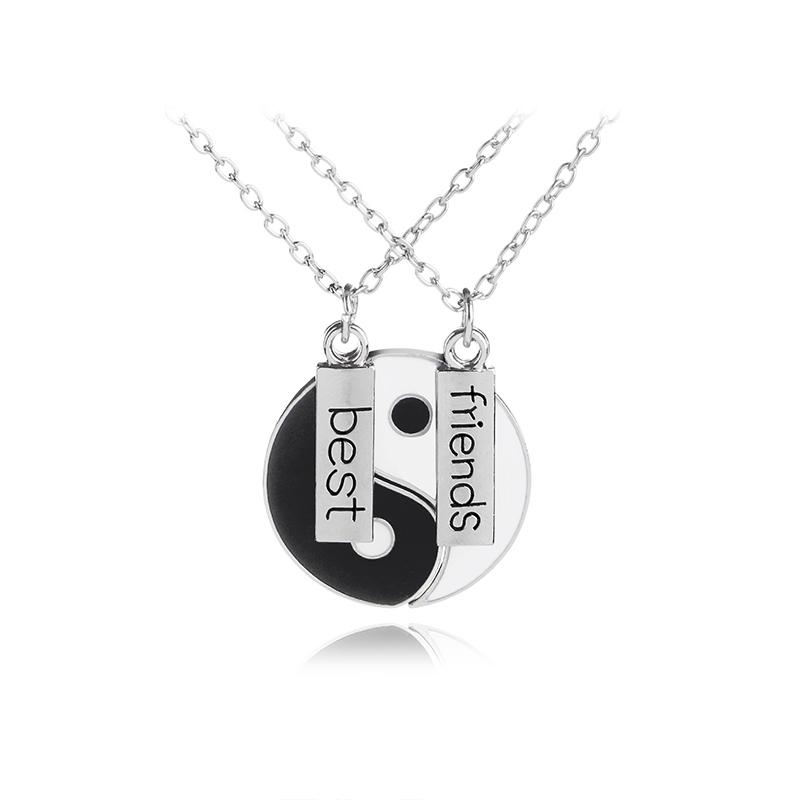 Collane moda otto schemi in bianco e nero Yin Yang a sospensione per coppie gioielli amante doni Best Friends Amicizia unisex