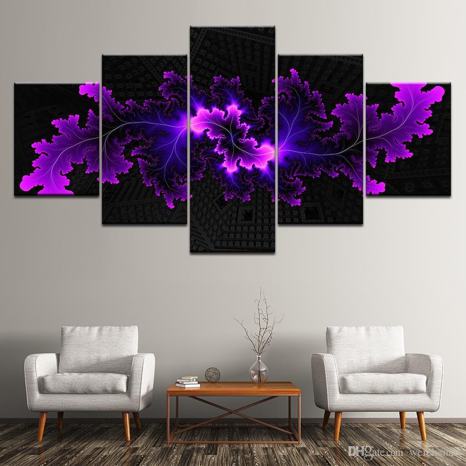 5 Panel Modüler Modern Soyut Çiçekler Tuval Yağlıboya Baskı Tuval Duvar Sanatı Resim Oturma Odası Dekor Için Resim Sanat