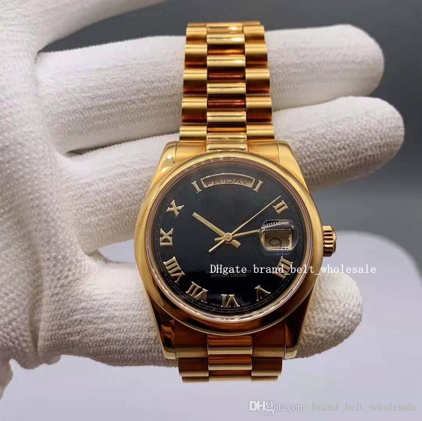 2021 Лавочник рекомендую роскошные новые часы 36 18 кт золотой черный циферблат автоматический мужской браслет 118208 белый римский сапфир