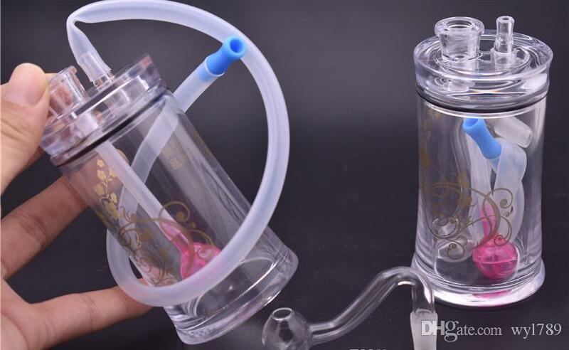 Nueva llegada mini plástico Tubería de agua Honeycomb Bong 10 mm Cazadores de ceniza Bong Vortex Honeycomb Plataformas de aceite brillantes Pipas de agua