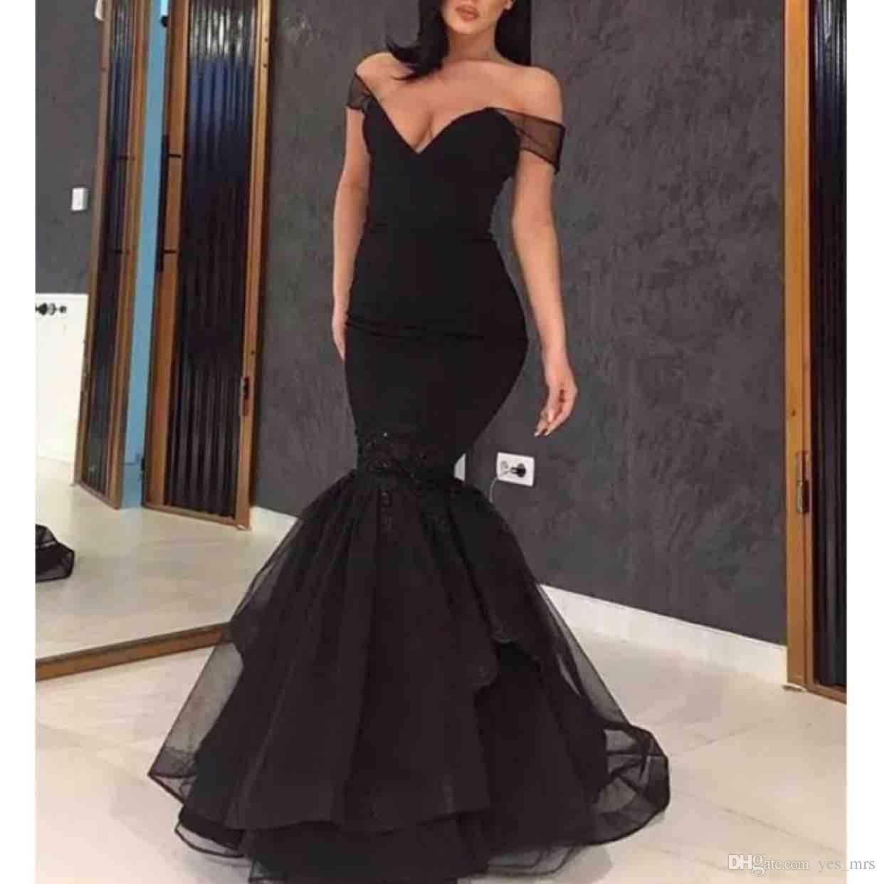 2019 New Sexy Black Mermaid Prom Dresses Off Shoulder Satin Tulle Open Back Floor Length Plus Size Evening Dress Party Pageant Formal Gown