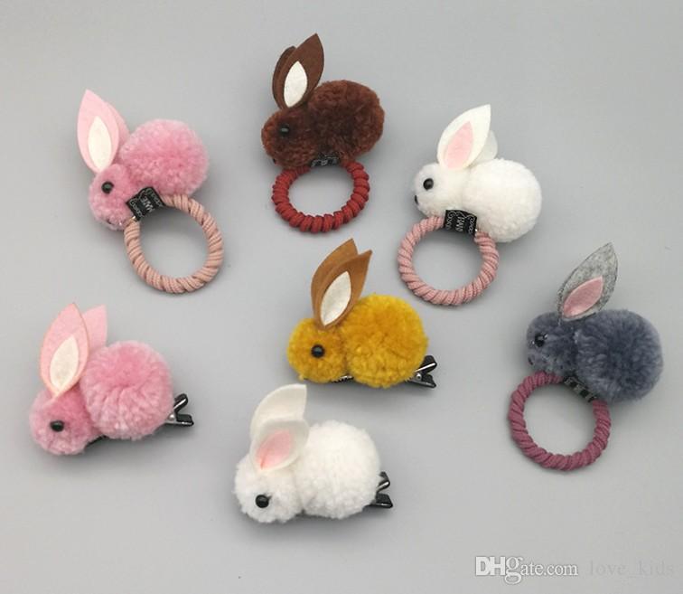 Korean Hair Clip Animals Rabbit Hairpins For Girls Hair Accessories 3D Plush Rabbit Ears Cute Kids Baby Hair Clips