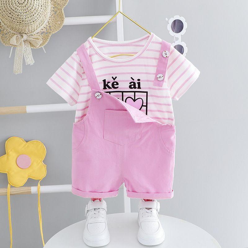 Summer Baby Girl Clothes Set Little Girls Short Sleeve Striped T-shirt+Suspender Shorts 2pcs Toddler Suit Cotton Newborn Outfit