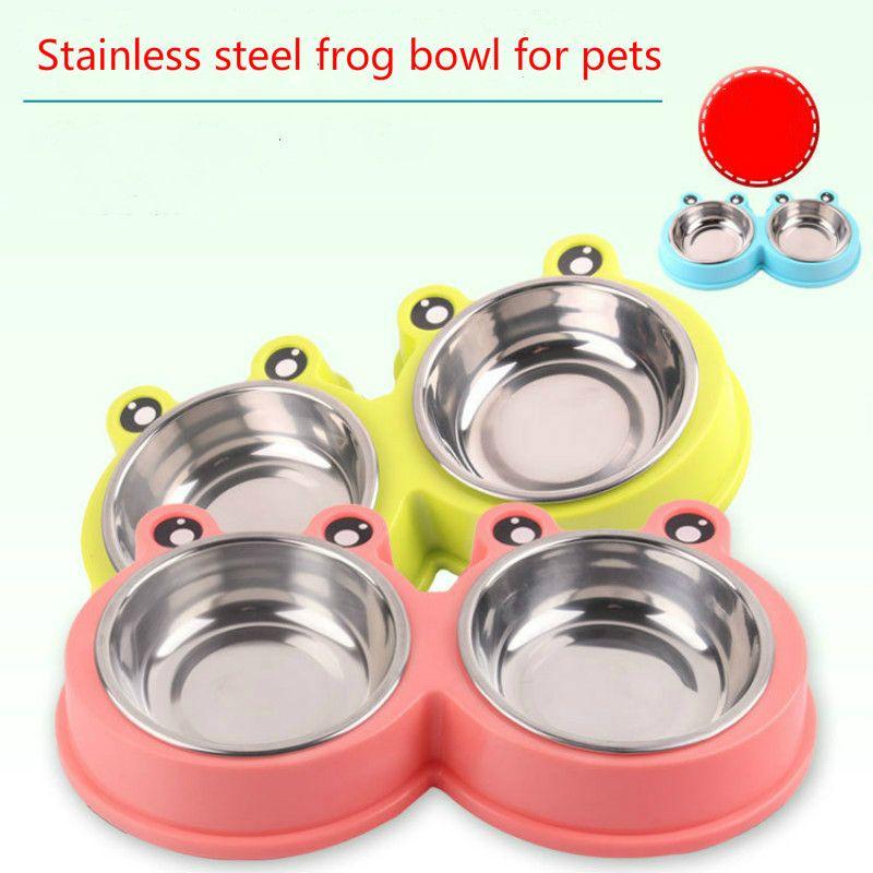 Ciotola in acciaio inossidabile per animali domestici in acciaio inossidabile per cani con doppio catino per cani