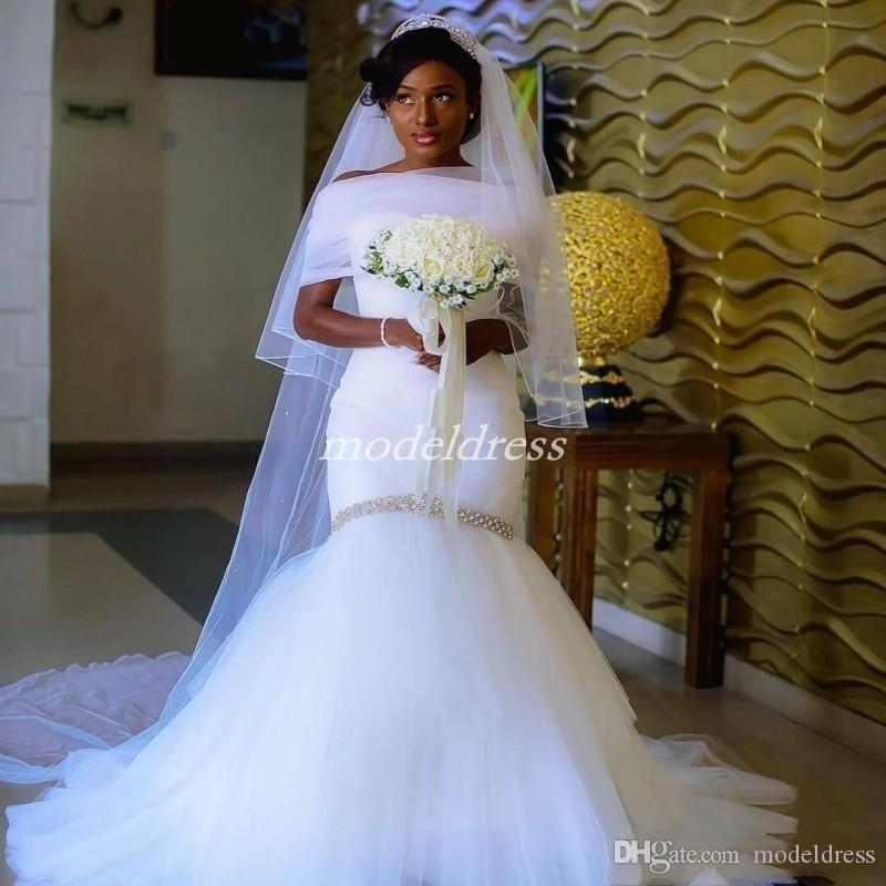 2019 African White Mermaid Wedding Dresses Sweet Heart With Wrap Draped Sweep Train Beads Garden Chapel Country Beach Bridal Gowns Plus Size