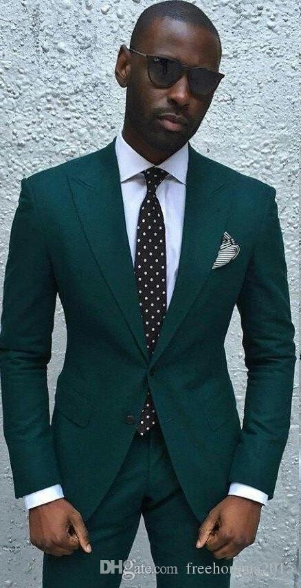 Özel Yeni Moda Hunter Yeşil Erkekler Wedding Suit İki Adet Damat Gelin Smokin Custom Made Groomsmen Suit Erkekler Prom Parti Takım Elbise (Ceket + Pantolon