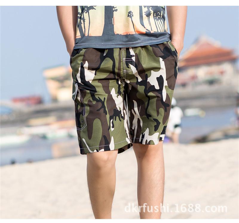 Летние мужские пляжные шорты Повседневная Камуфляж Drawstring эластичный пояс с кулиской Свободные шорты новых людей серфинг шорты