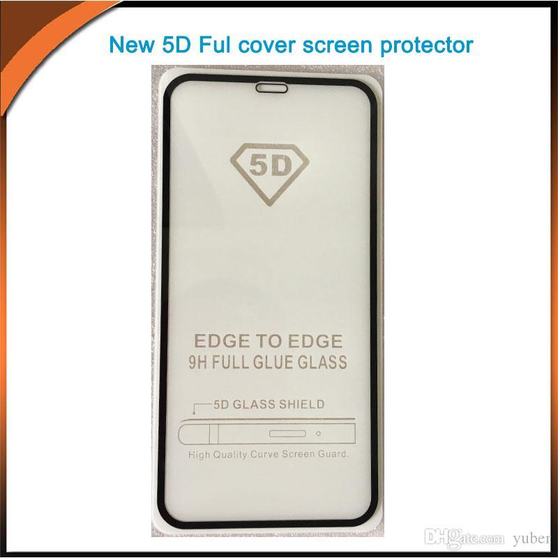 아이폰 Xs / XR / Xs 최대 / 8 / 8 플러스 10in1 패키지와 함께 5 D 전체 커버 강화 유리 스크린 프로텍터