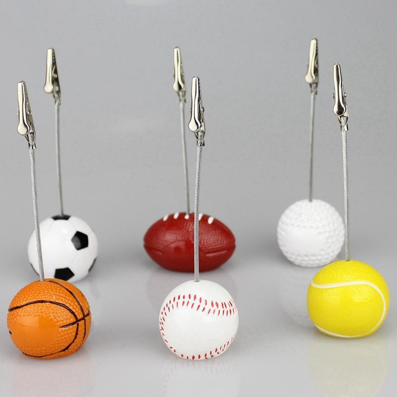 Creativo nota clip del supporto di carta Sport Tema Basket Pallavolo Calcio Golf Forma Foto Nota multimediale per Office decorazione domestica HHA1149