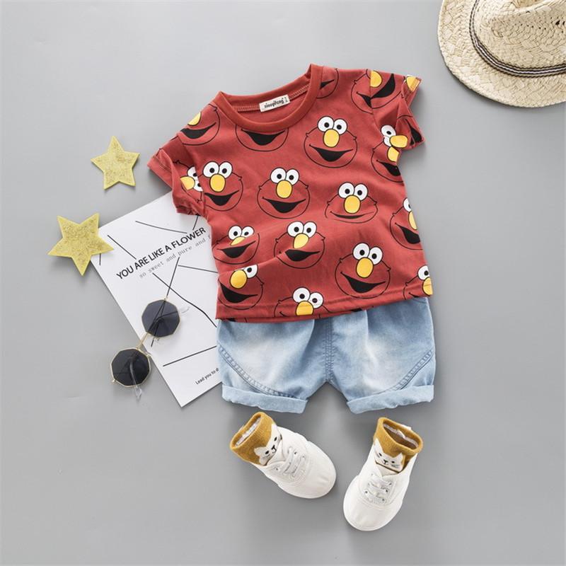 2020 Summer Baby Boy Одежда Комплекты для новорожденных Одежда для младенцев Повседневная мультфильм хлопка футболки + шорты 2pcs костюм для мальчика спортивный костюм