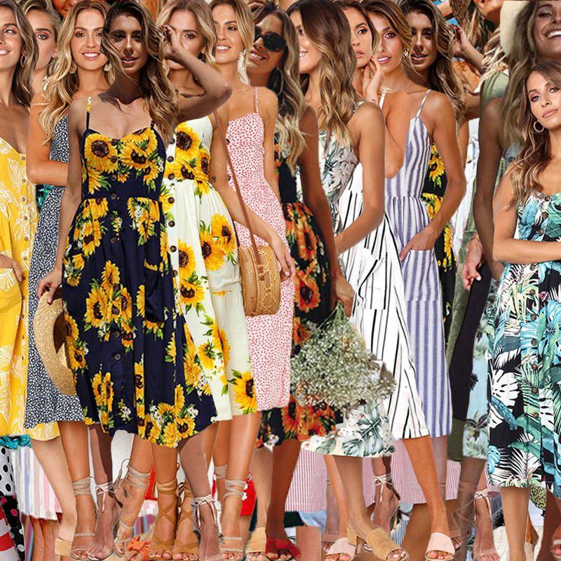 Boho floral sin mangas vestidos midi 33 estilos mujeres imprimir verano con cuello en V bolsillos sin respaldo plisado botón vestidos 10pcs LJJO6295