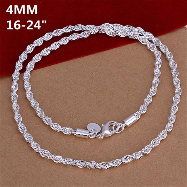 Chapado en plata de ley pendientes de las cadenas de la cuerda de 4 mm hombres Twisted 16 18 20 22 24 pulgadas DHSN067 venta superior 925 de la placa de plata collares de la joyería Cadenas