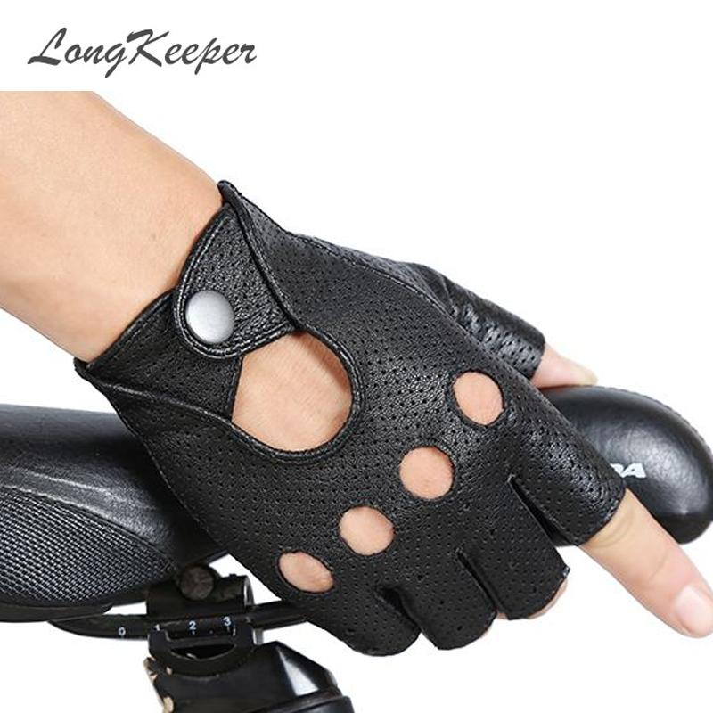 Women Ladies Party Finger Faux Leather Gloves Driving Show Half Gloves CB