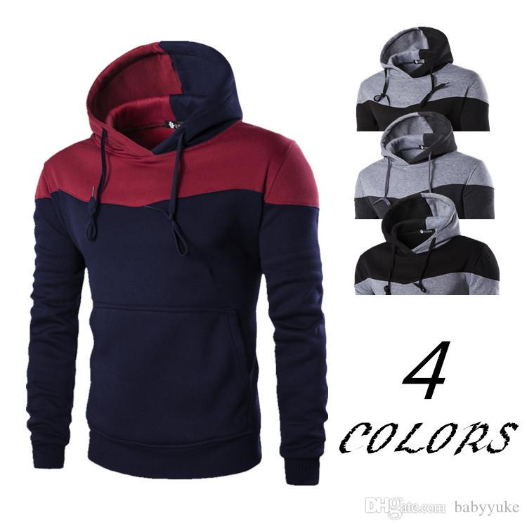 Acheter Pull À Capuche Vêtements Veste Attachée À Capuche Hommes Épeler Couleur Coutures À Capuche Sweat Shirts Vêtements Pull Sportswear 261 De