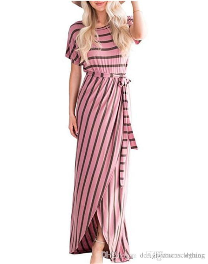 Sexy Striped Print Womens Maxi Dresses Summer Crew Neck Pencil Dresses With Sashes Fashion Ladies Club Dress