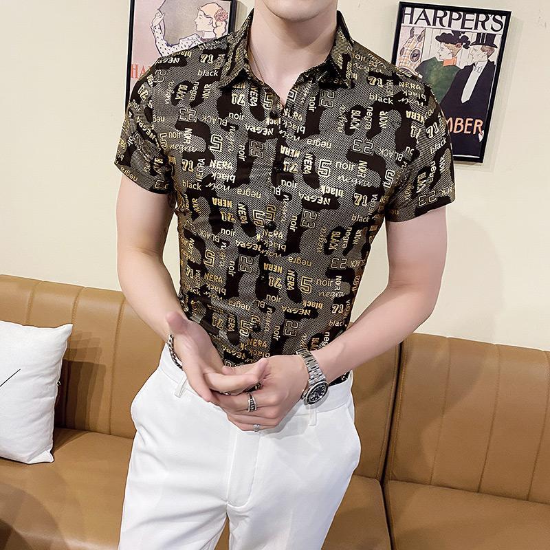 Net rot ruffian gut aussehendes Blumenhemd dünne koreanische Version der soziale Kerl kurzärmeligen Männer gedruckt Hemd lässig Sommertrends